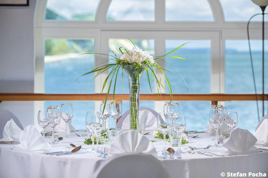 Hochzeit Tischdeko für Heirat auf Rügen in Seebrücke Sellin an der Ostsee