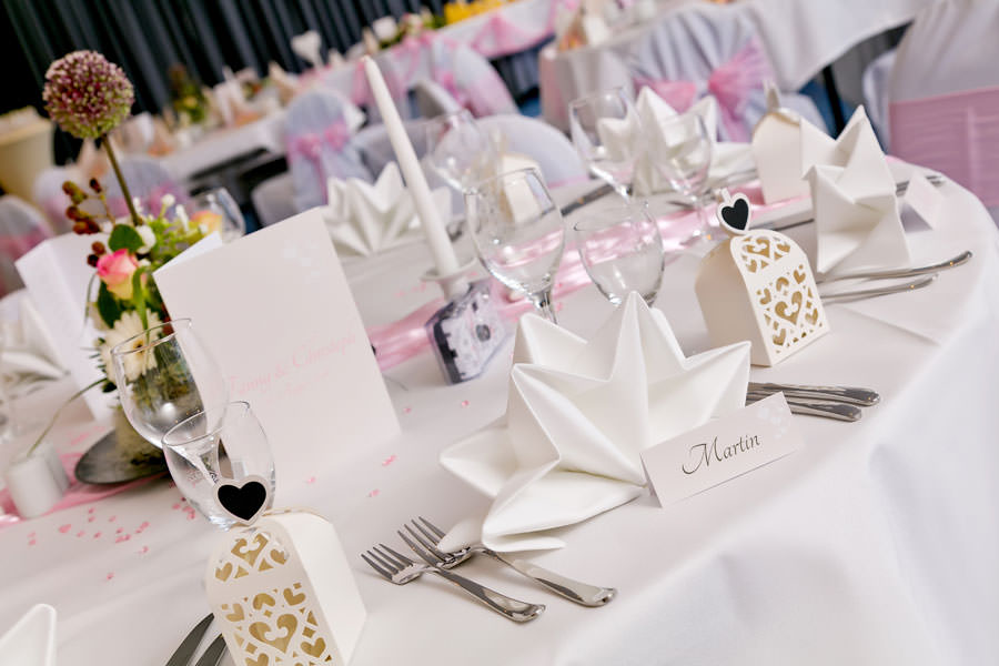 Hochzeitsdekoration im Parkhotel in Bergen auf der Insel Rügen
